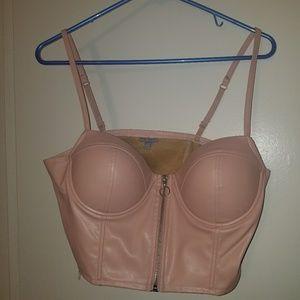 Pink zip up bustier/crop top